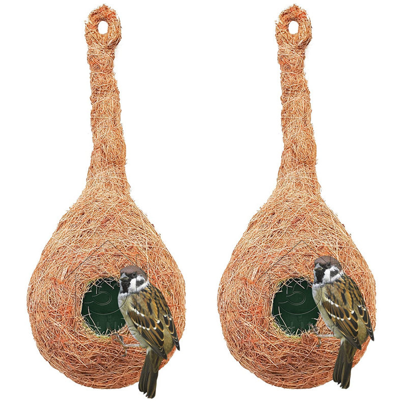 BackToNest CR 1 Quality Safest Round Organic Bird Nest Purely Handmade Sparrow Brown Set of 2